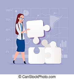 Business Woman Solve Puzzle Solution Concept