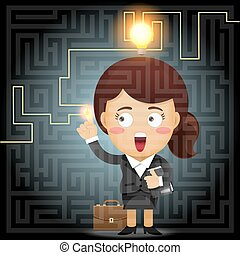 business woman solving the solution of labyrinth