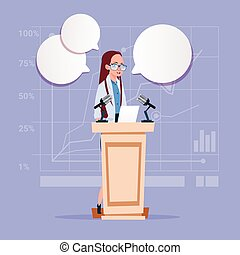 Business Woman Speaker Candidate Public Speech Conference...