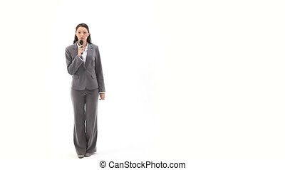 Business woman speaking into a micr - Video of a business...