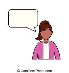 business woman speech bubble