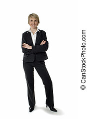 business woman standing and smiling on white