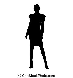 Business woman standing in formal dress, skirt and jacket. Isolated vector silhouette