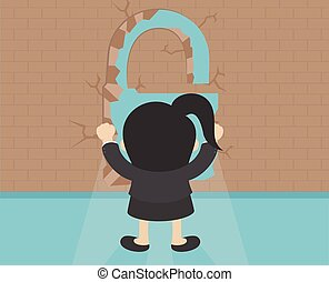 Business woman  standing in front of brick wall with Key shape
