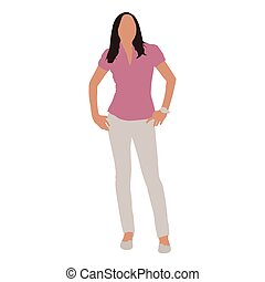 Business woman standing in pink shirt and white trousers, abstract vector illustration