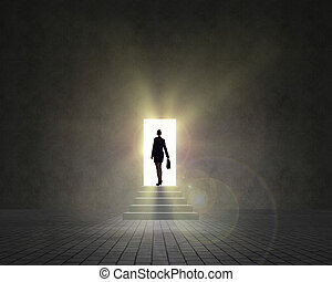 business woman standing near an open door - businesswoman...