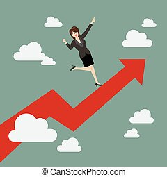 Business woman standing on a growing graph
