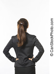 Business woman standing on a white background