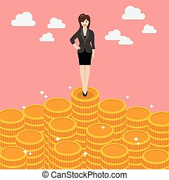 Business woman standing on money