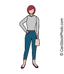 business woman standing on white background