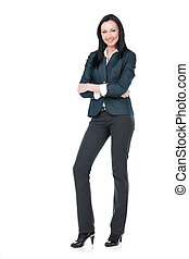 Business woman standing on white isolated. With nice toothy smile
