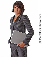 business woman standing with laptop