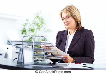 Business woman  - Pretty business woman working at office