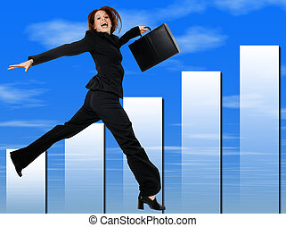 Business Woman - Happy Successful Business Woman Jumping and...