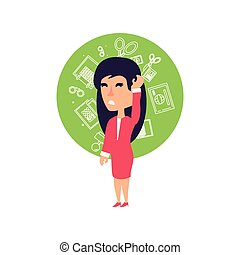 business woman stressed with set icons office