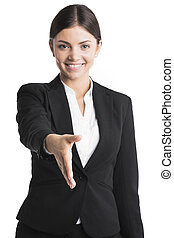 Business woman stretching hand for shaking - Young business...