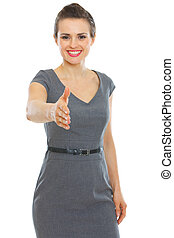 Business woman stretching hand for handshake