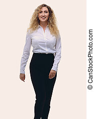 business woman striding confidently forward. - in full...