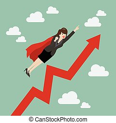 Business woman super hero with growing graph