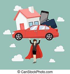 Business woman superhero carrying debt burden