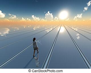 Business woman surreal horizon