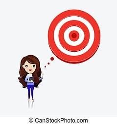 Business woman talk with target to success. Business woman with target in his think bubble. vector, illustration