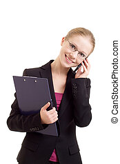 business woman talking on a cell phone