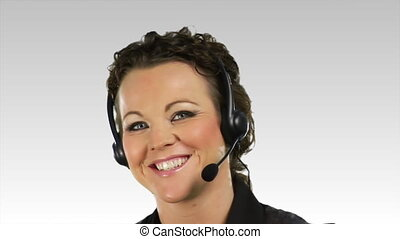 Business woman talking on a Helpdesk 7