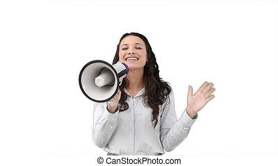 Business woman talking on a megaphone