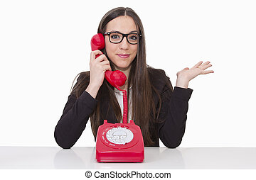 Business woman talking on the phone cord