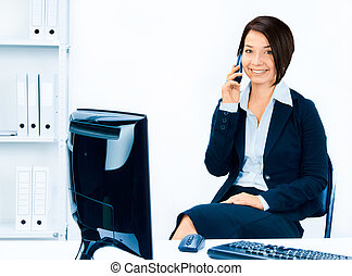 Business woman talking on the phone