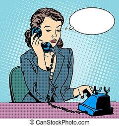 Business woman talking phone