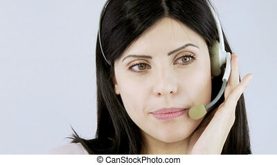 Business woman talking with headset