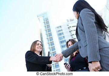 Business Woman Team Handshake