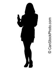 Business woman texting and phoning - Full body of a young...
