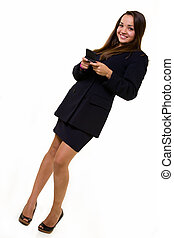 Business woman texting - Full body of a young attractive...