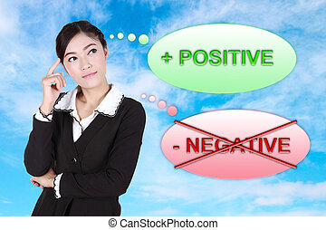 Business woman thinking about positive with blue sky