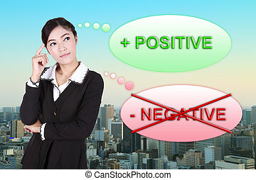 Business woman thinking about positive with city