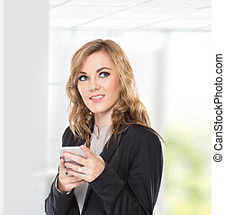 Business woman thinking while use communicator, write send message, isolated