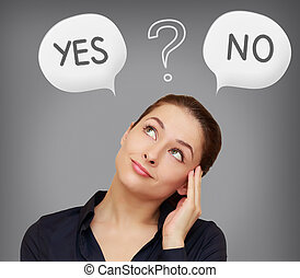 Business woman thinking yes or on in speech bubble on grey background