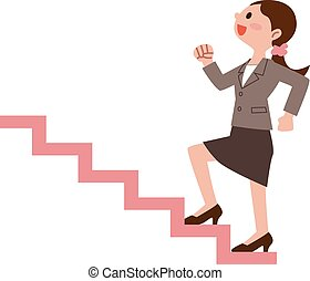 Business woman to climb the stairs  - Vector illustration.