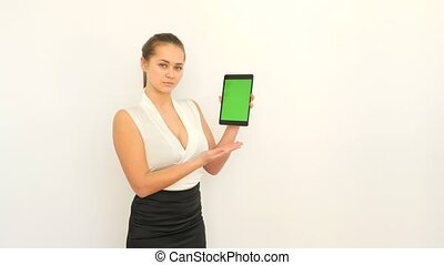 Business Woman Touches Tablet
