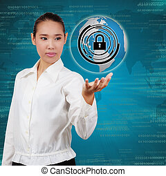 Business woman touching virtual screen of security. Concept of security business Information systems and networks.