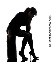 business woman traveling sad tired silhouette