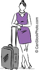 business woman travelling vector illustration