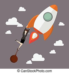 Business woman try hard to hold on a rocket with debt burden
