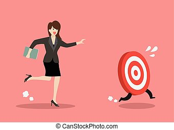 Business woman try to catch the target