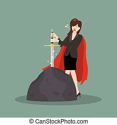 Business woman try to pull sword from stone. Busness concept