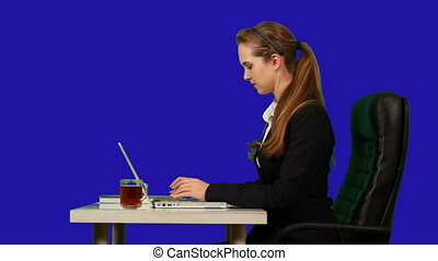 Business woman typing. Chroma key.