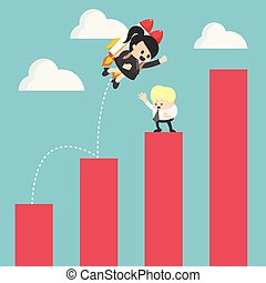 Business Woman up to adjust an uptrend graph